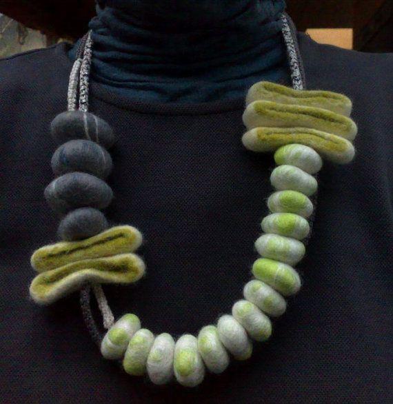 Orla necklace Bold Asymmetric Felt Necklace by LondonFelt