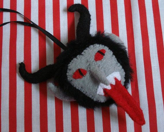 Krampus face ornament by SilentOrchidStudio on Etsy, $16.00