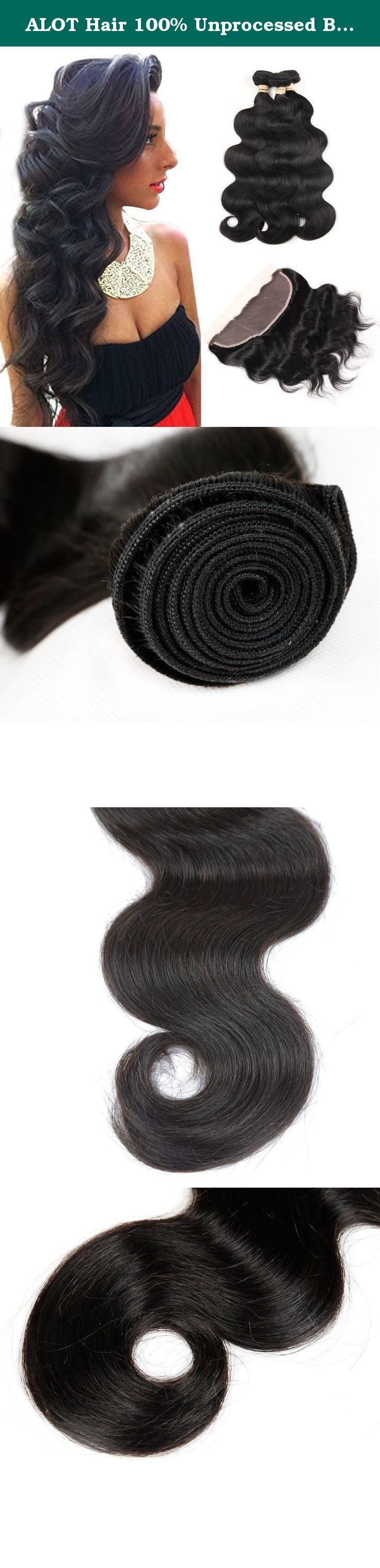 "ALOT Hair 100% Unprocessed Brazilian Real Human Hair 3 Bundles with 13×4 Ear to Ear Lace Frontal Closure, Body Weave Hair Extensions , Natural Color Weft(12 12 14 with 10). ALOT Hair Spec: 1)Hair Material:100% unprocessed human hair 2) Hair Colour: Unprocessed Natural Color ,similar with 1b 3) Hair Grade:7A; Length:8""-28""Provide Any Mix Length According Request . 4) Hair Weight:Each bundle is about 95~100g , and each bundle is maxgram. 5)Texture:body hair weft ,holding weave for a long…"