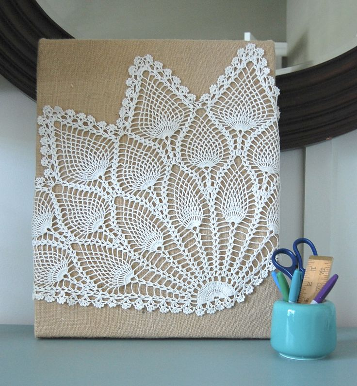 Really easy wall art: Glue or staple some burlap over a canvas, glue on a doily or something similar and voila!  Your own art!