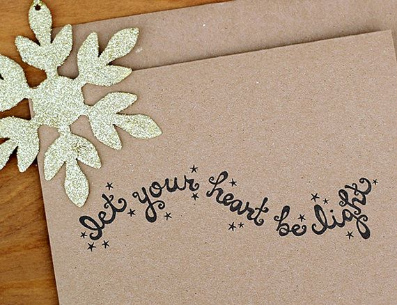 Let Your Heart Be Light Eco Friendly Chrismas Card Set of 10 - Hand Lettered Whimsical Holiday Cards