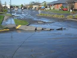 liquefaction in Kaiapoi near Christchurch NZ after earthquakes