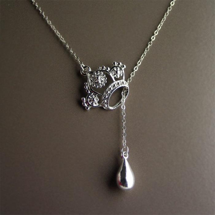 Crown tear drop necklace.