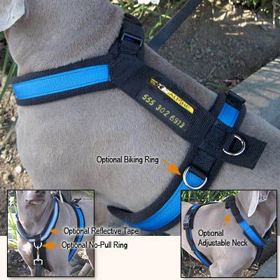 all purpose customizable utility harness. optional features include side rings for biking, front ring for no-pull harness, reflective tape for nighttime visibility, & embroidering on back strap