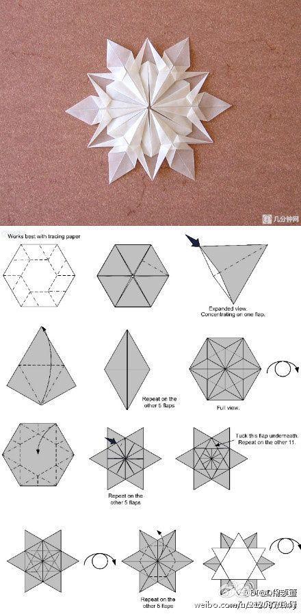 Vidéo explicative pour faire un flocon en origami avec du papier calque.