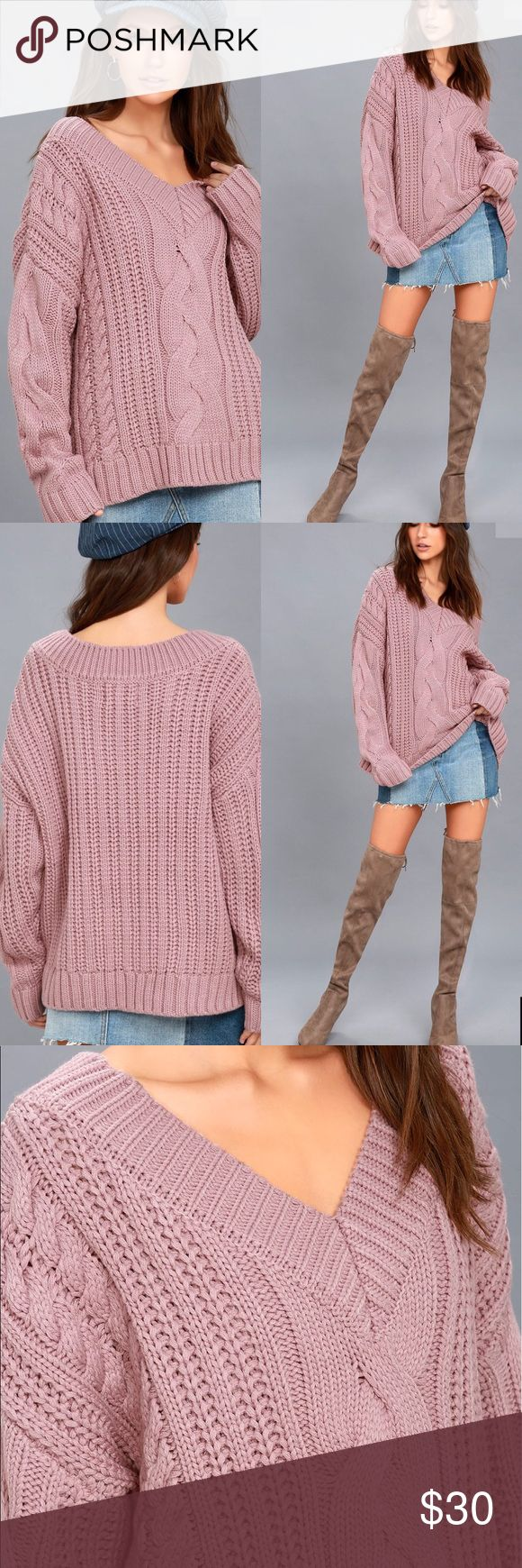 🆕 Mauve Pink Cable Knit  Sweater There is nothing better than getting bundled up in the Moon River Camp Cozy Mauve Pink Cable Knit Sweater! A chunky, cable knit sweater has long, drop sleeves, a ribbed V-neckline, and ribbed cuffs and hem. Unlined. 100% Acrylic. Moon River Sweaters