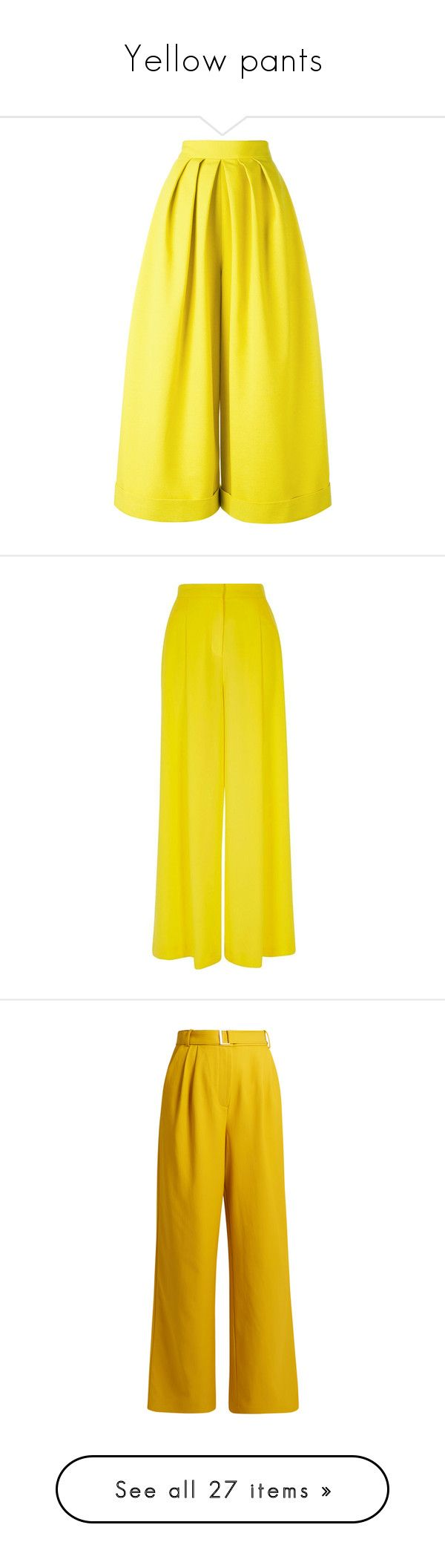 """Yellow pants"" by savemilkdrinkblood ❤ liked on Polyvore featuring pants, pantaloni, yellow, pleated palazzo pants, pleated trousers, palazzo trousers, yellow pants, pleated palazzo trousers, wide leg pants and women"