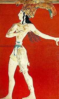 Il principe dei gigli, ca 1550-1450 a.C. Dal palazzo di Cnosso. Pittura parietale e rilievo in stucco dipinto. Iraklion, Museo Archeologico.