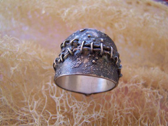 silver handmade skin stitches ring by archegono on Etsy