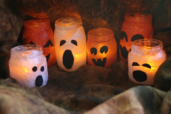 re-purposed baby food jars: Crafts Ideas, Halloween Decor, Jars Candles, Cute Crafts, Teas Lights, Halloween Ghosts, Fun Crafts, Mason Jars, Halloween Jars