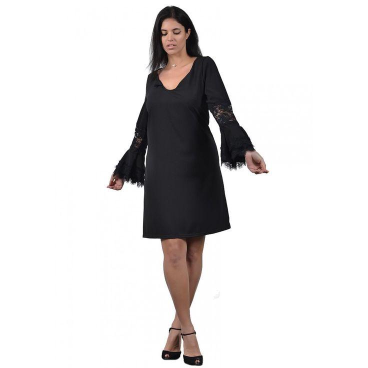 Φόρεμα Mini Crep με δαντέλα (5937)