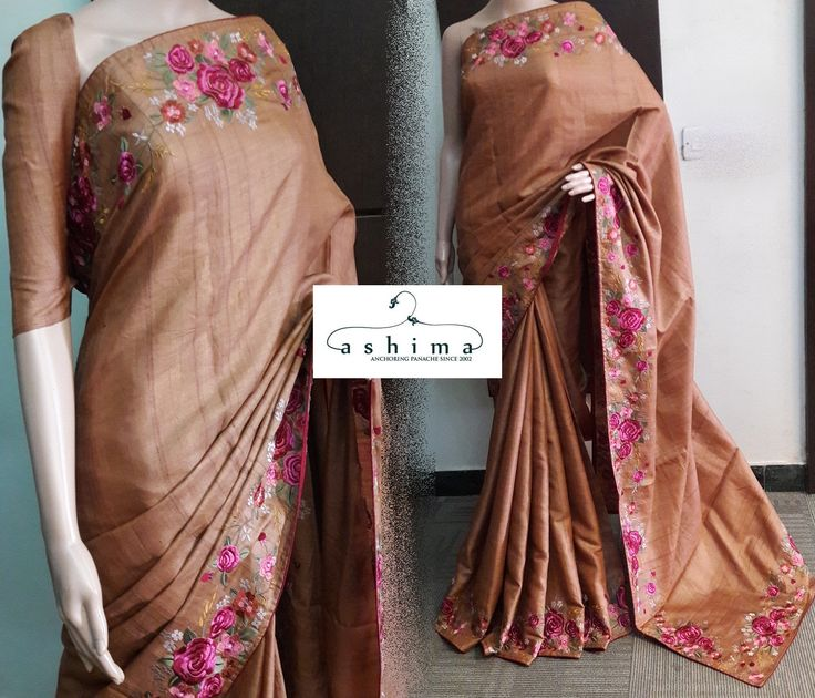Code:0310173 - Price INR:8700/- , Tussar Silk Saree With Embroidered Border.