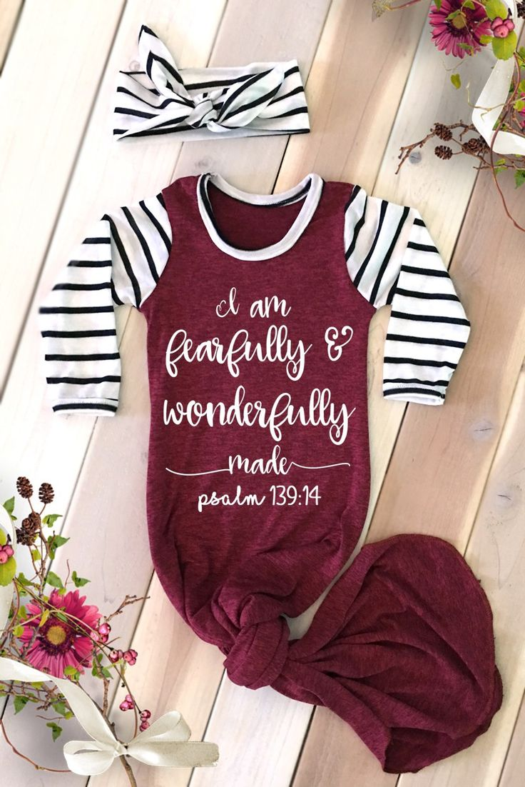 Faith Baby | I Am Fearfully ad Wonderfully Made Newborn Baby Girl Gown