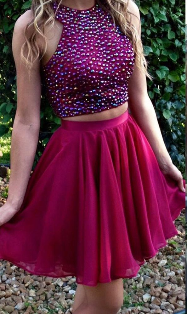 Fuchsia 2 Piece Homecoming Dresses,Two-pieces Short Prom Dresses,Fuchsia Chiffon Short Formal Gowns,1835