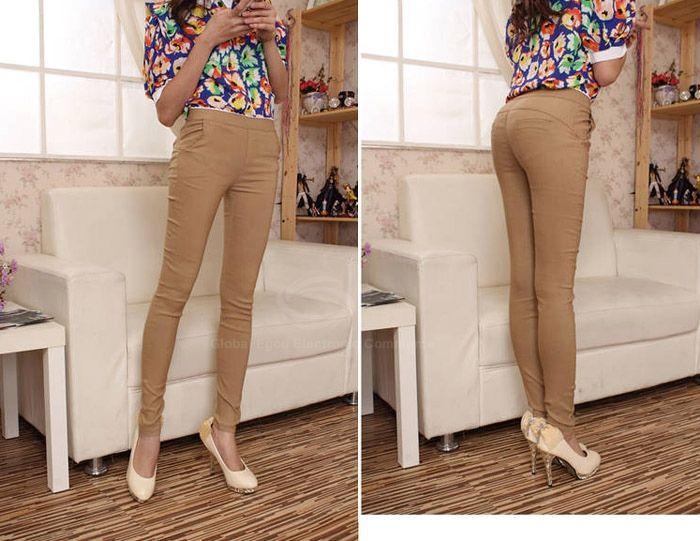 Stunning Solid Color High Waist Springy Cotton Blend Women's Pencil Pants