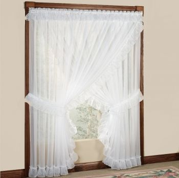 Jessica Sheer Ruffled Priscilla Curtain in White or Ivory