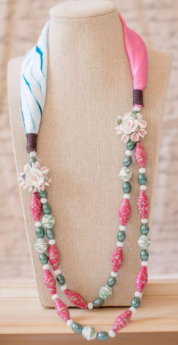 Bridesmaid gift ideapink floral necklacescarf necklacepink