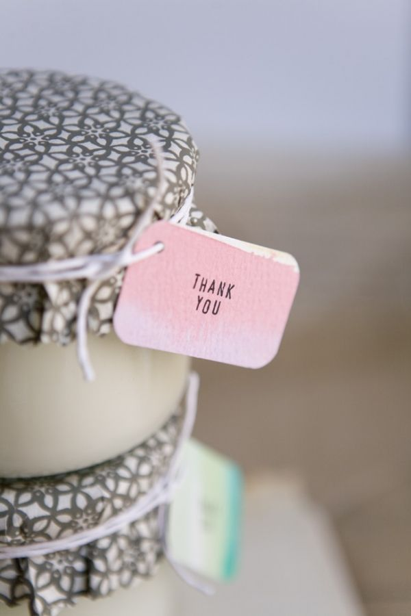 Home Candle with Thank You Tag