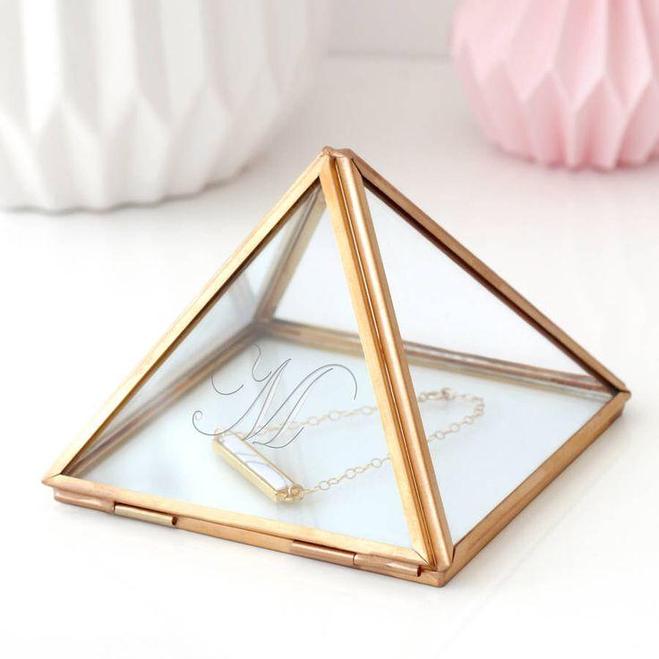 Glass Jewellery Box,  Pyramid Jewellery Box, Personalised Box, Geometric Box, Geometric Glass Box, Jewelry Box, Pyramid Box, Minimalist Box by mariaallenboutique on Etsy https://www.etsy.com/uk/listing/457752736/glass-jewellery-box-pyramid-jewellery