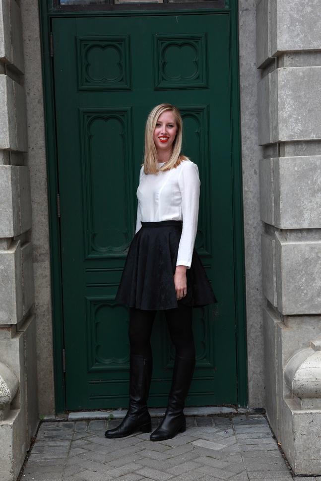 Milano Top White  NYC Skirt Black