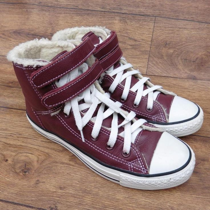 SIZE UK 6 CONVERSE ALL STAR HI 2 STRAP BURGUNDY LEATHER ANKLE BOOTS VELCRO STRAP