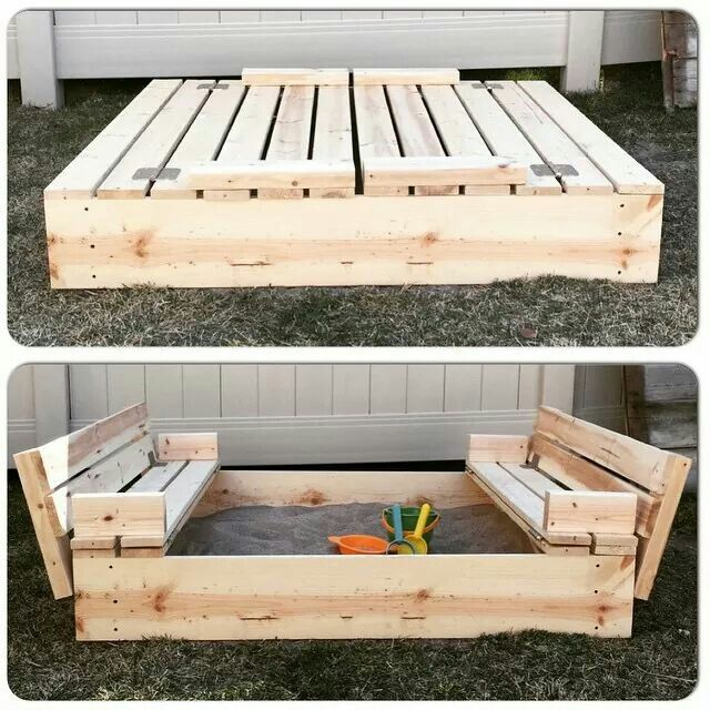 Sand box with cover that converts to benches.