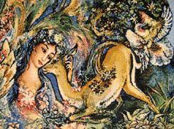 Mahmoud Farshchian Design Persian Tabriz Woven Rug
