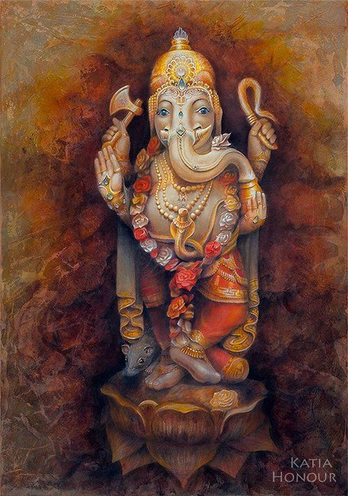 Ganesha - The remover of obstacles (sometimes places obstacles in your path if you need to be diverted or checked!), Lord of wisdom, intellect - God of Scribes, personifies Aum (Om, the first sound), residing in the first or base chakra - supporting and guiding the other chakras, governing the forces that propel the wheel of life.