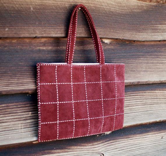 Leather Tote Bag Suede Leather Red by TheRoadie #suedebsg #redbag #redtotebag #sashikobag #sashiko