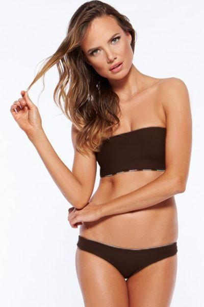 Fashion Summer Brown Bandeau Bikini Swimwear ChicLike.com