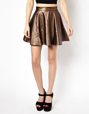 Изображение 4 из Короткая расклешенная юбка цвета металлик Beloved Pixie