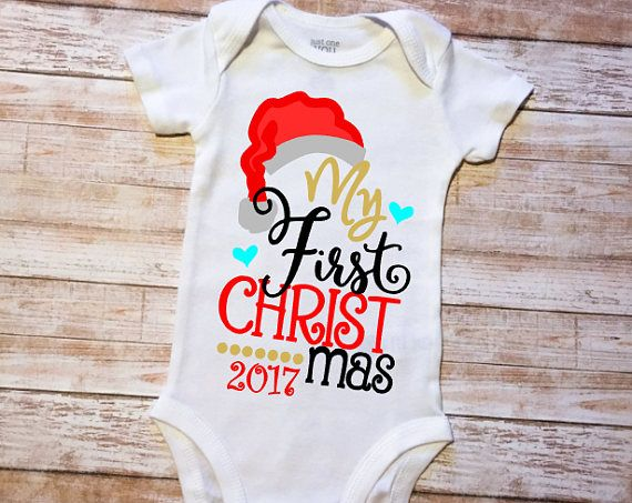 Short Sleeve White Cotton Personalised My 1st Christmas Glitter Print Baby Bodysuit