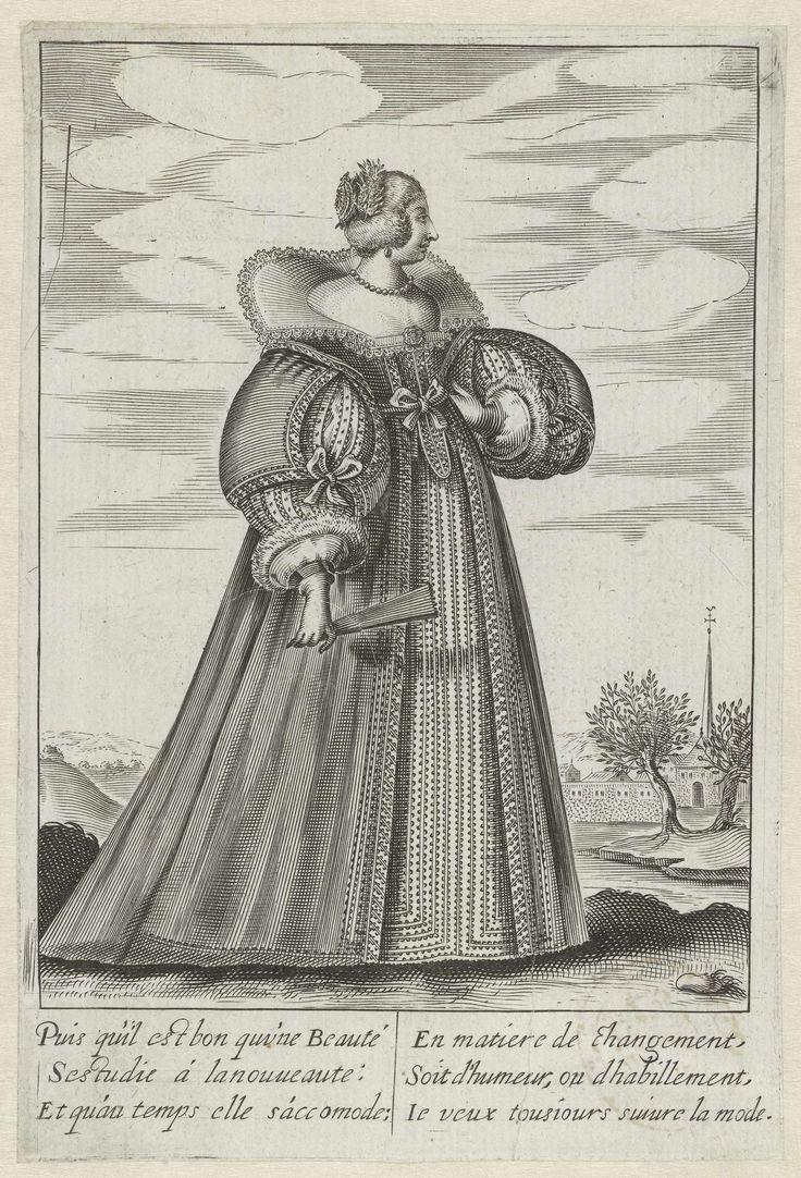 Isaac Briot | Franse hofdame, gekleed volgens de mode ca. 1630, Isaac Briot, Jean de Saint-Igny, Anonymous, 1630 - 1640 | Franse 'hofdame', van opzij gezien, staand voor een landschap. Ze is gekleed in een vliegerkostuum met ballonvormige open mouwen met ronde, breed uitstaande manchetten. Hoog aangegeven taillelijn met strik van voren en  onbedekt décolleté. In de hals een breed uitstaande kraag (van schouder tot schouder).  Ze draagt een kort kapsel met versiering. In de hand een…