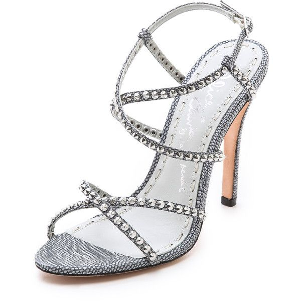 Alice + Olivia Gianna Strappy Sandals - Grey ($104) ❤ liked on Polyvore featuring shoes, sandals, heels, sapatos, grey high heel sandals, heeled sandals, grey strappy sandals, strappy high heel sandals and strappy sandals