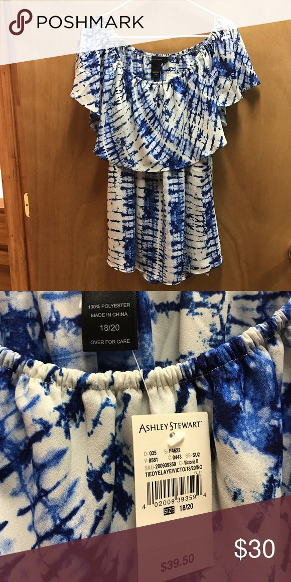 Blue and white blouse Blue and white blouse. Can be worn off the shoulder or on. New with tags. Size 18/20. Perfect for spring and summer. Ashley Stewart Tops Blouses