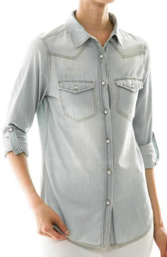 $36, Light Blue Denim Shirt: Front Porch Light Denim Shirt. Sold by shoptiques.com. Click for more info: https://lookastic.com/women/shop_items/313671/redirect