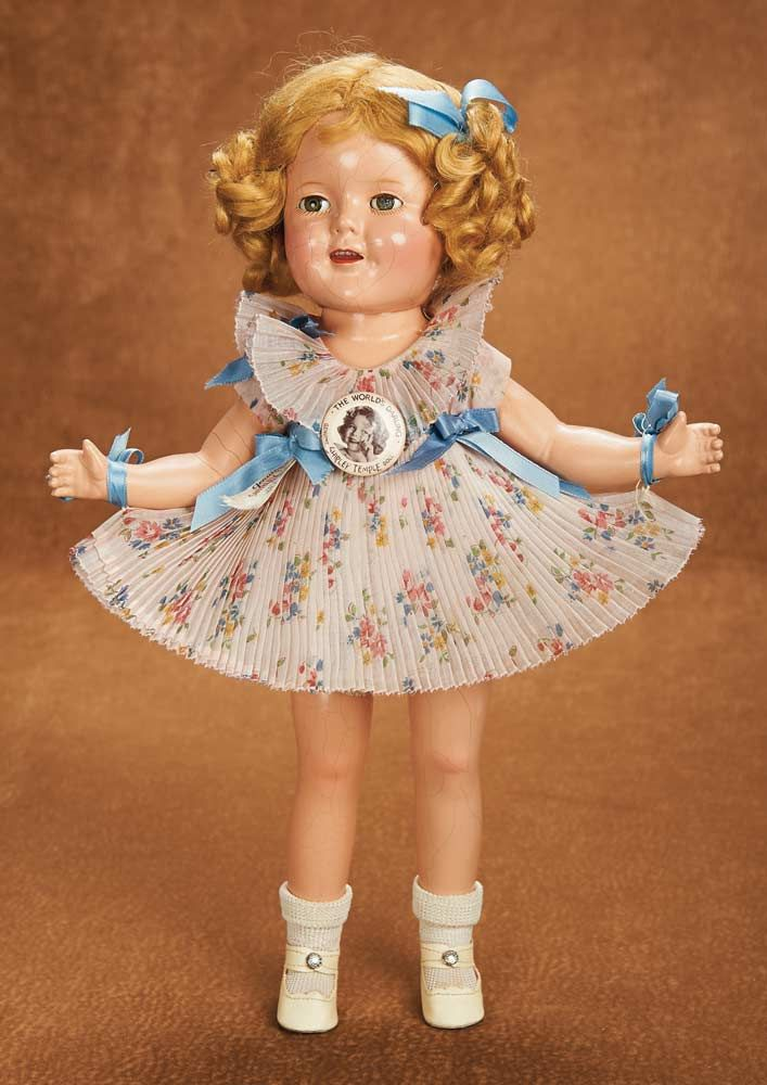 "Remembering Mama: 307 American Composition ""Shirley Temple"" by Ideal in Rare Pleated Dress"