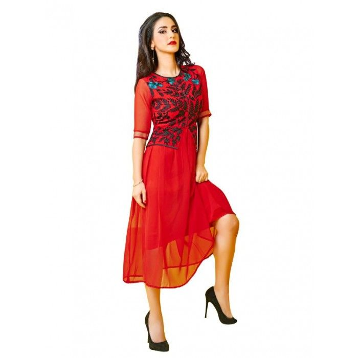 Red and Georgette Kurti