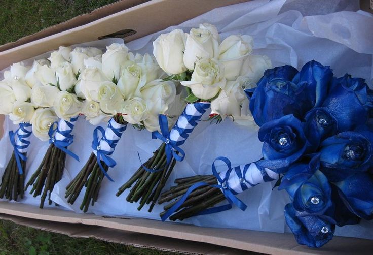 Royal Blue Wedding Flowers | Adult Bridesmaids Bouquets: Based on the ivory bouquets, here . We ...