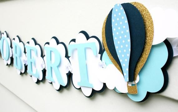 Hot Air Balloon Decorations - graduation decorations - hot air ballon banner - oh the places he'll go - #ballon #balloon #banner #decorations