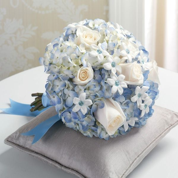 Blue Hydrangea Wedding Flowers: Forget Me Not Wedding Bouquet