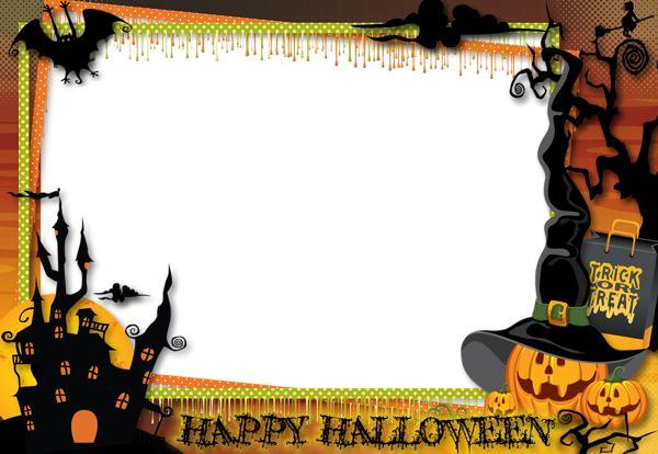 Free download - Halloween Transparent Large PNG Photo Frame. For easy poster design.