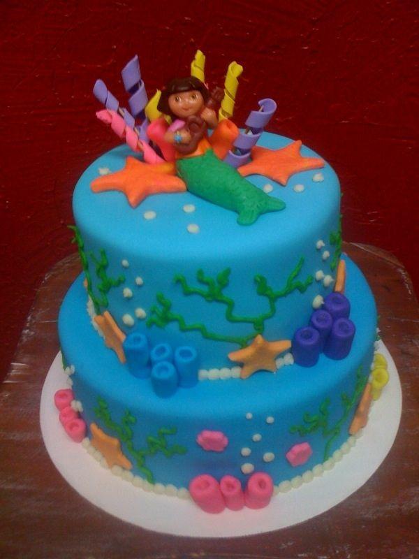 In Dora Mermaid Cake Album Childrens Birthday Cakes cakepins.com