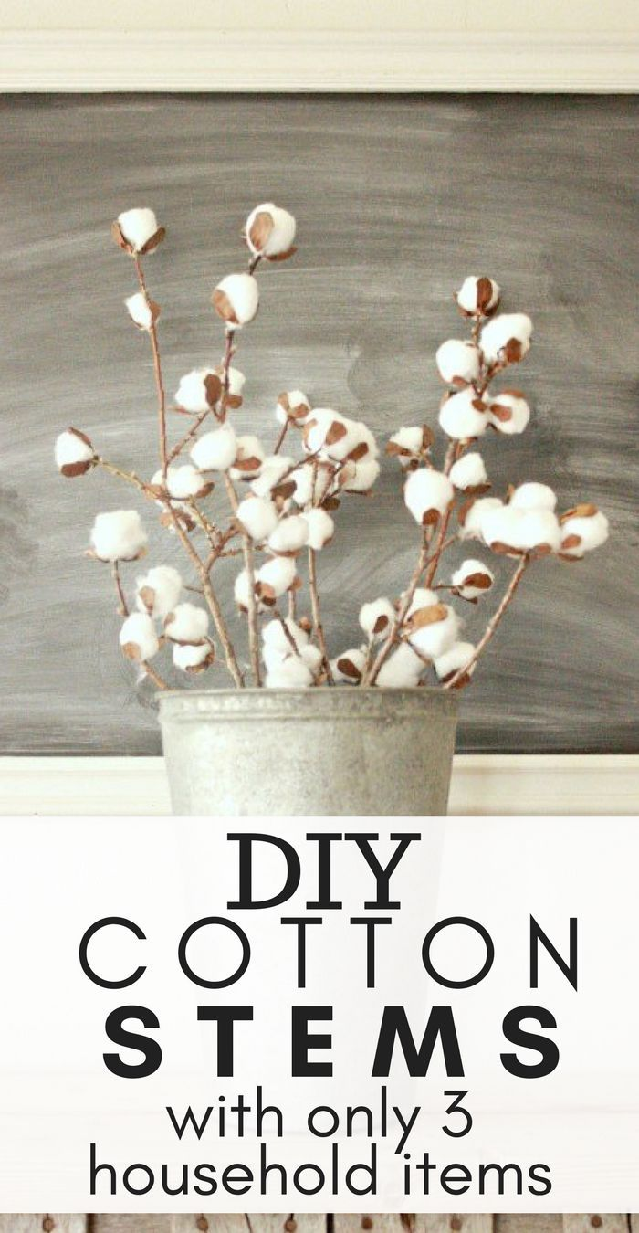 Make these easy DIY cotton stems with only 3 household items! #repurpose #farmhousedecor #diy