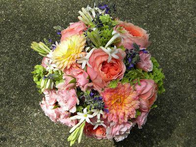 Annabelle Hydrangea, Indigo Spires Salvia, Gabrielle Marie Dahlias, and fragrant Tuberose. Bridal bouquet