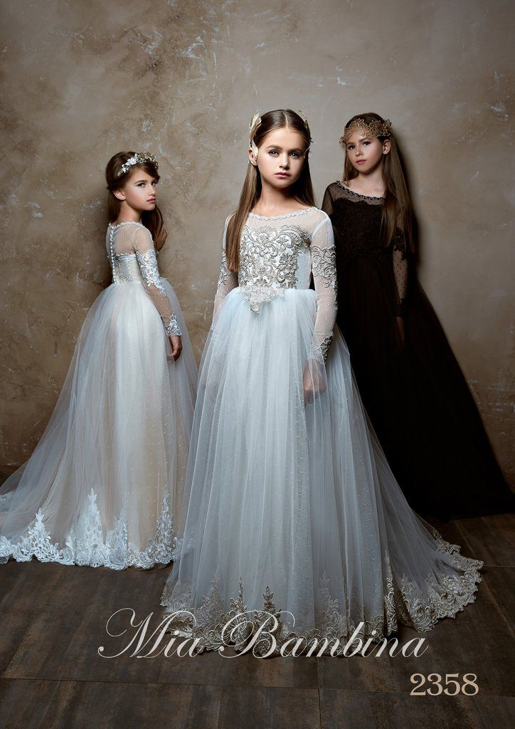 Flower Girl Dresses Junior Bridesmaid Long Sleeve Contrast Lace