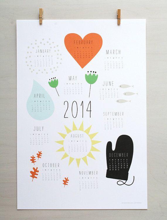 2014 Wall Calendar Art Print. Wall Calendar. Holiday Gift