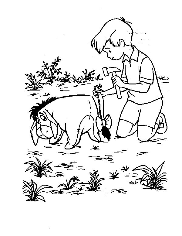 christopher robin hold the hammer coloring pages for kids printable winnie the pooh coloring pages for kids - Winnie The Pooh Coloring Book