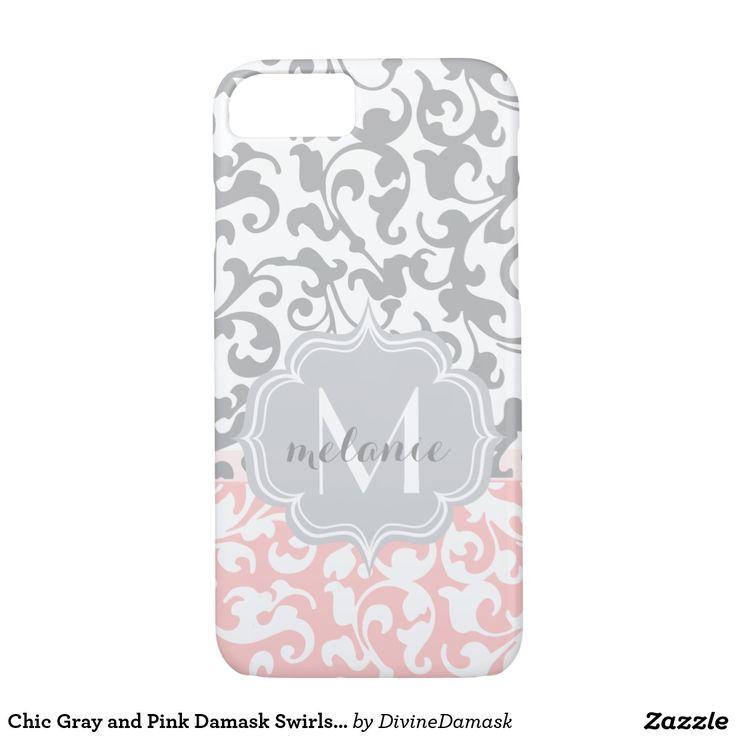 Chic Gray and Pink Damask Swirls Monogram iPhone SE/5/5s Case