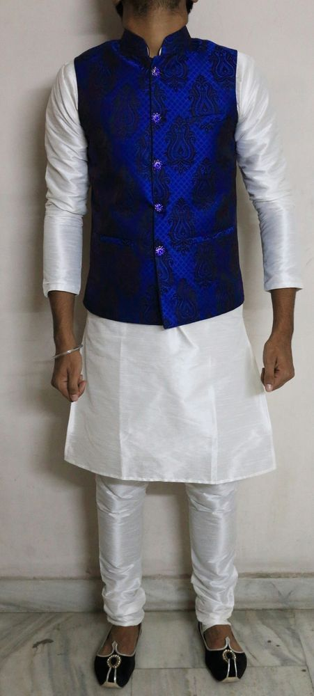 Kurta Pyjama Set with Nehru Collar Waist Coat for Men
